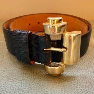 Christian Dior vintage navy leather belt